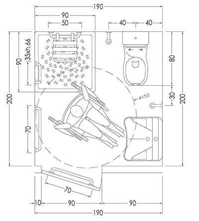 bagno per disabili disegno del progetto